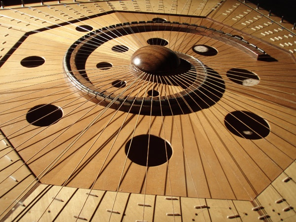 The Celestial Harp is a 72 stringed musical instrument designed to play a persons horoscope and the I Ching. There is no beginning or end to the instrument and musicians move around it. There are also frets for each string. Truly this is an incredible sound machine. And it sounds great!