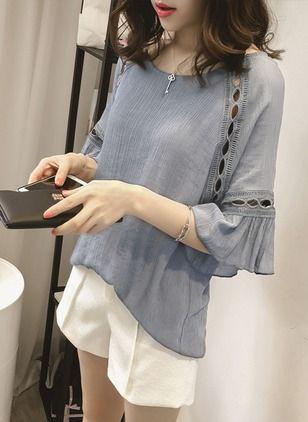 Reto Elegante Algodão Em torno do pescoço Meia manga Camisas (1052275) @ floryday.com