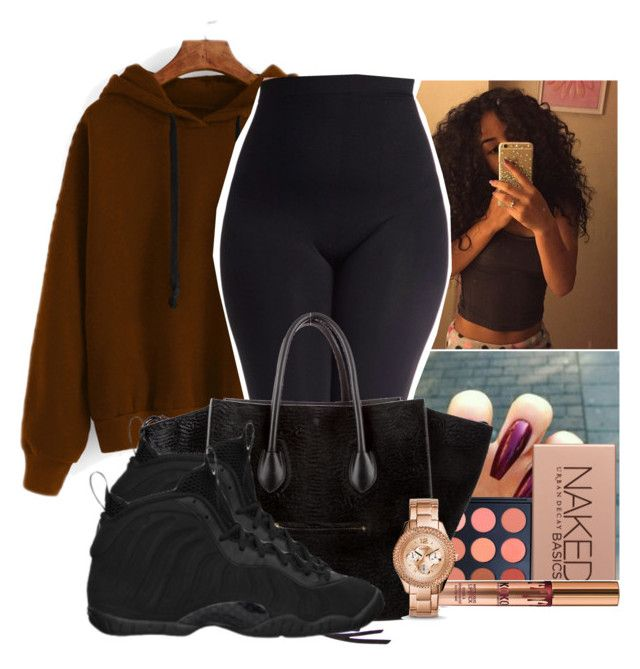 """""""Untitled #2106"""" by therealslimm ❤ liked on Polyvore featuring Morphe, CÉLINE, NIKE, Urban Decay, FOSSIL and plus size clothing"""