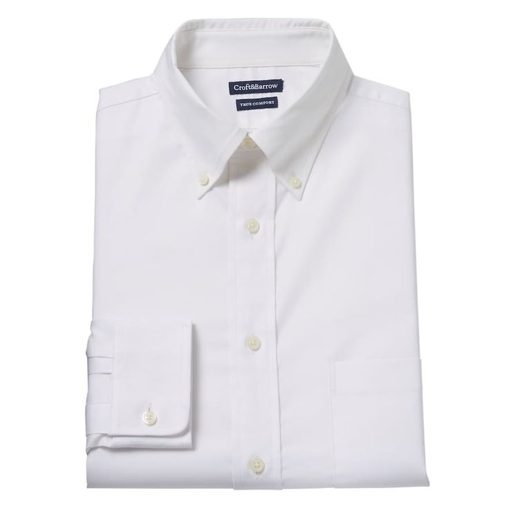 Men's Croft & Barrow® True Comfort Fitted Oxford Stretch Dress Shirt, Size: 15.5-34/35, White