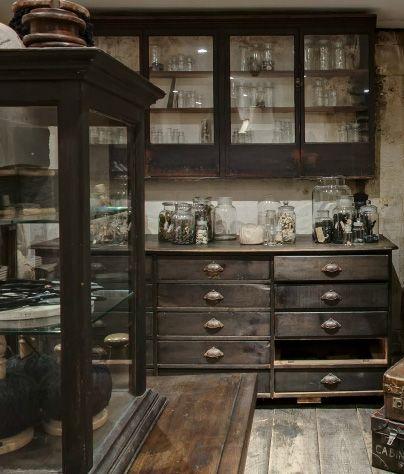 black apothecary hutch - image via igigi website as seen on linenandlavender.net -http://www.linenandlavender.net/2014/01/source-sharing-i-gigi-general-store-uk.html