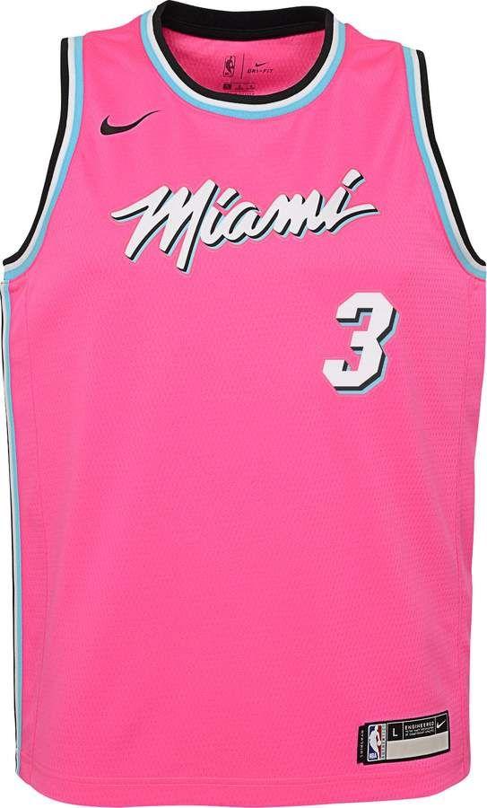 release date 1a06c c0f97 Nike Youth Miami Heat Dwyane Wade Dri-FIT Earned Edition ...