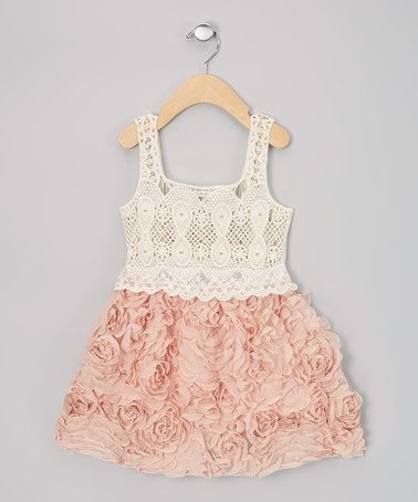 Rose & Cream Chiffon Rosette Dress - Infant, Toddler & Girls by Sweet Cheeks on #zulily #cutiestyle