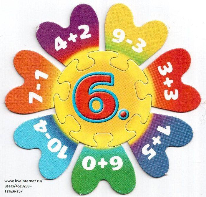 Puzzel met plus- en minsommen omtrent het getal 6.