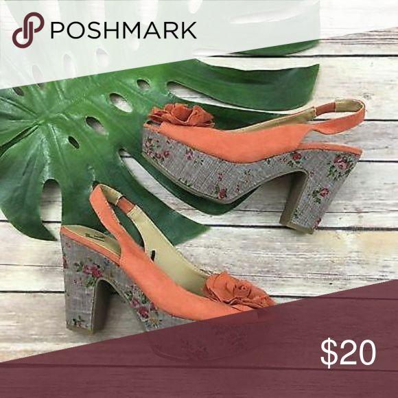Report Orange + Floral Platform Heels Orange and floral peep toe high sling back platform heels in good condition. Report Shoes Platforms