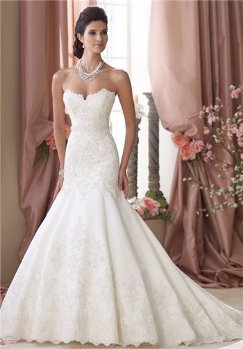 Stunning beaded mermaid gown with sweetheart neckline // 114290 from David Tutera for Mon Cheri. THE NECKLINE