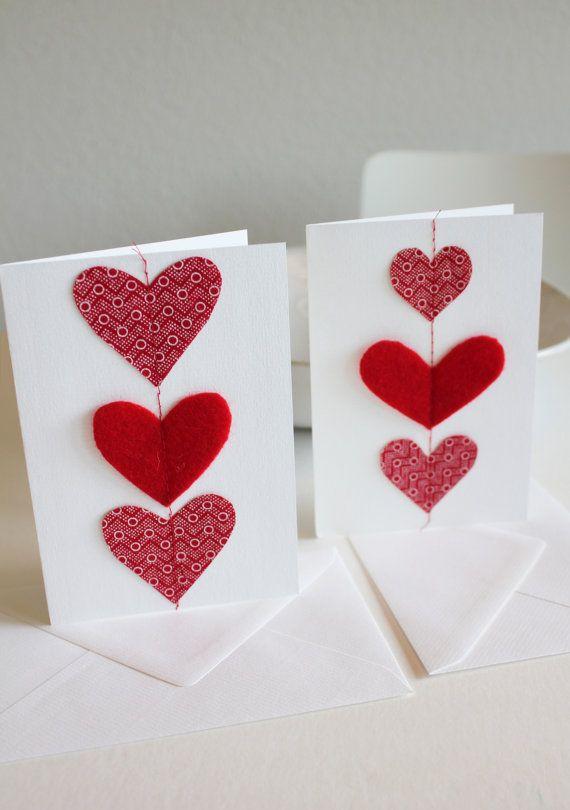 Valentine's day cards - red shweshwe fabric sewn cards - set