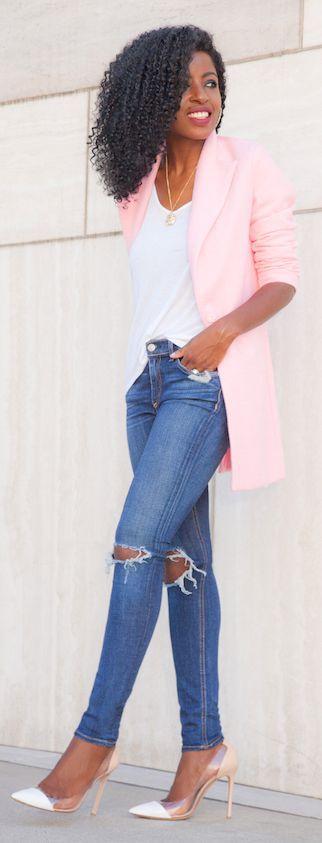 impressive pink blazer outfit women 13