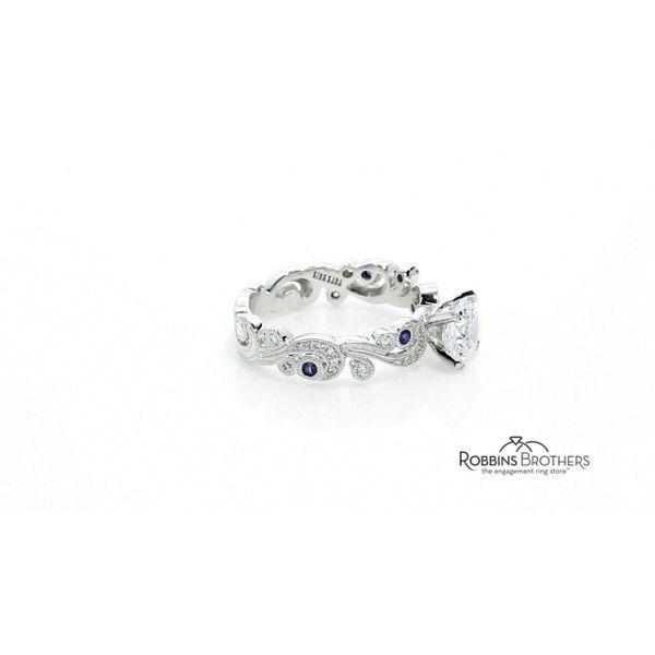 13936127f27e0 Kirk Kara 18k White Gold Blue Sapphire Diamond Engagement Ring ...