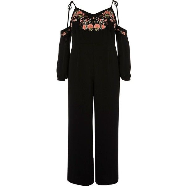 River Island Plus black floral embroidered jumpsuit ($30) ❤ liked on Polyvore featuring jumpsuits, black, playsuits & jumpsuits, sale, women, romper jumpsuit, playsuit jumpsuit, women's plus size jumpsuits, playsuit romper and plus size jump suits