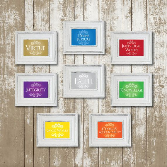 In need of a cute display for Young Women in Excellence or Standards Night? These versatile printables can be framed for a cute display, bundled