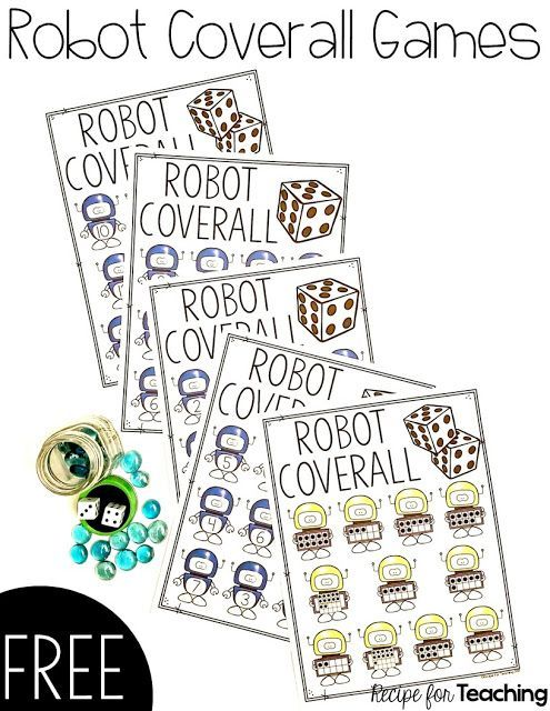 FREE Robot Coverall Games!  Five different versions of robot themed games.  Students can practice number recognition, addition, and subtraction within the different games.