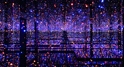 Yayoi Kusama, Infinity Mirrored Room—Filled with the Brilliance of Life, 2011. Mirror-paneled installation with LED lights and water, Edition 2/3, 300 x 617.5 x 645.5 cm. Guggenheim Abu Dhabi