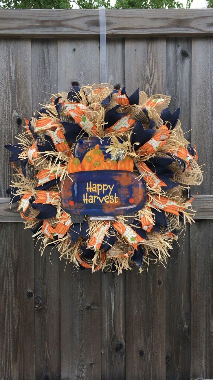 Fall Happy Harvest Truck Wreath Autumn Wreath Farmhouse