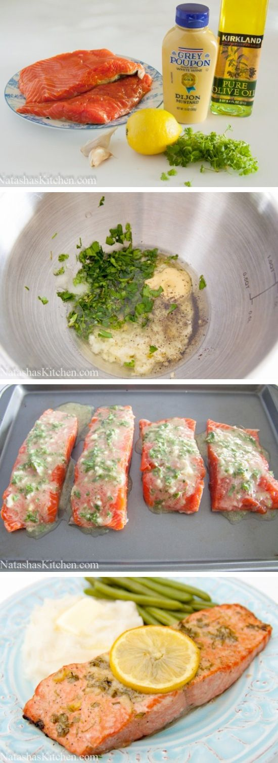 Garlic Dijon Baked Salmon Recipe- tried this a couple of nights ago (M w/o mustard)- I thought it was a bit salty, but overall pretty easy/tasty. Will make again (and use less salt)