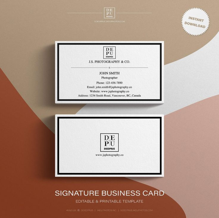 Editable Printable Signature Business Card Template in US