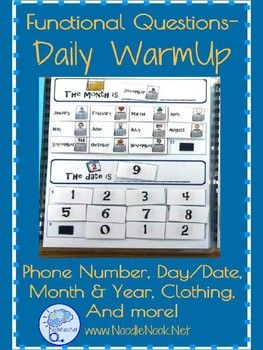 Daily Warm Up for Calendar Skills & Personal Information in Autism Units and LIFE Skills Classes.