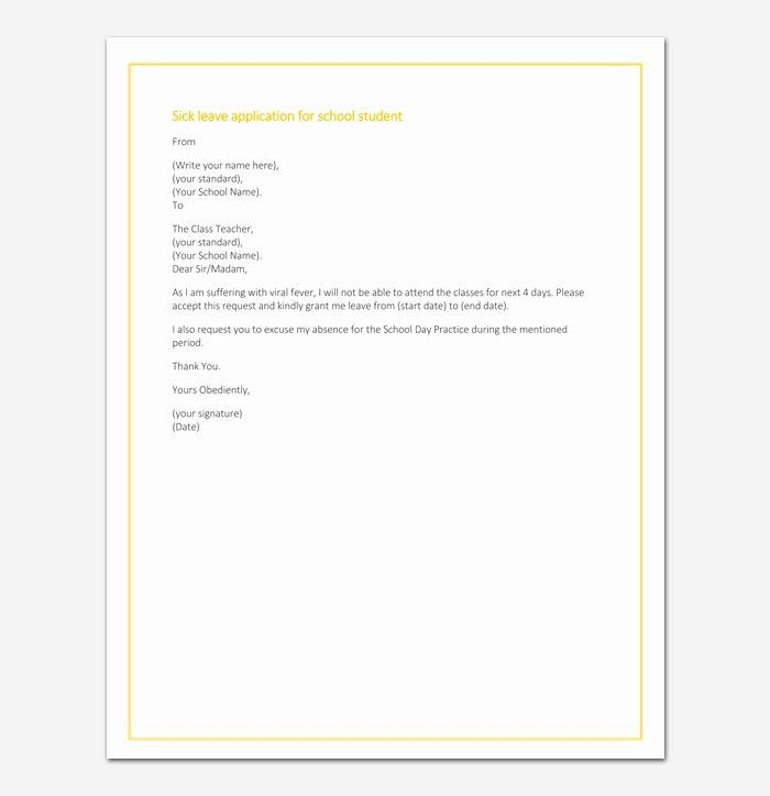 40 Absent Letter For School Business Letter Example Lettering