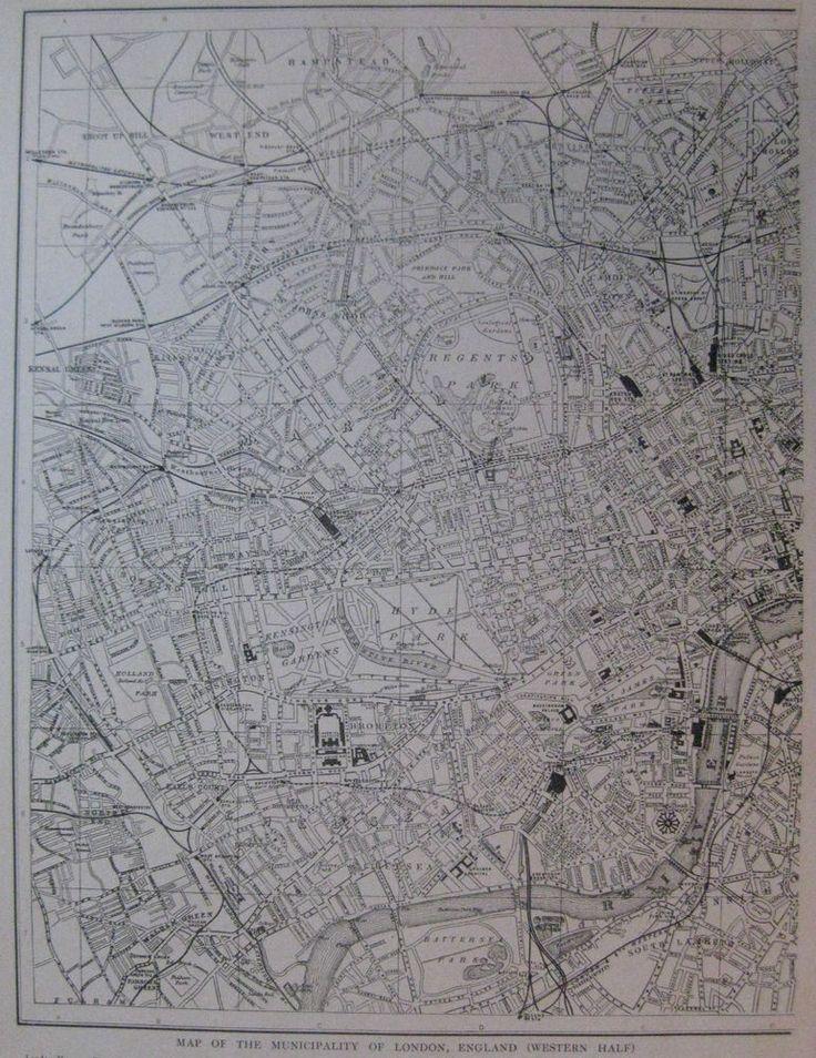 1926 Antique LONDON Map Vintage City Map