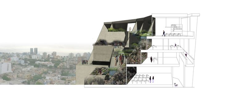 University Campus UTEC Lima University as an Arena for Learning concept sketch - the new cliffs Man-Made Cliff The unique condition of Lima and its relationship to the Pacific, with cliffs defining the boundary between the...