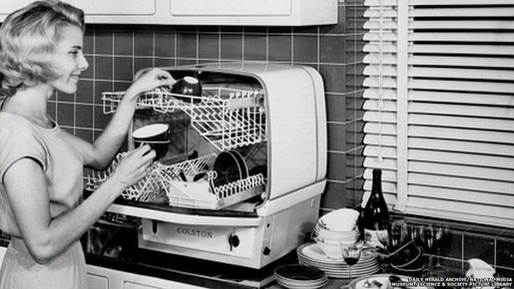 A new archive from website historypin.com, in collaboration with npower and Mirrorpix, is collecting pictures from the past. This 1960s dishwasher by Charles Colston Ltd cost 85 guineas. The first dishwasher was patented in 1886 by Josephine Cockrane, but was taken up only by businesses because of the amount of hot water required to run it. Home dishwashers became more common in the 1970s.