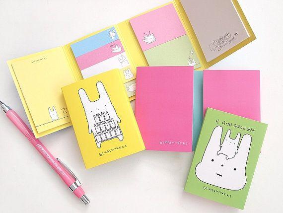 Rabbit Sticky Note Ver.1 / Notepad / Memopad by DubuDumo on Etsy, $5.00