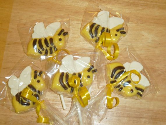 One Dozen Chocolate Bumble Bee Lollipops