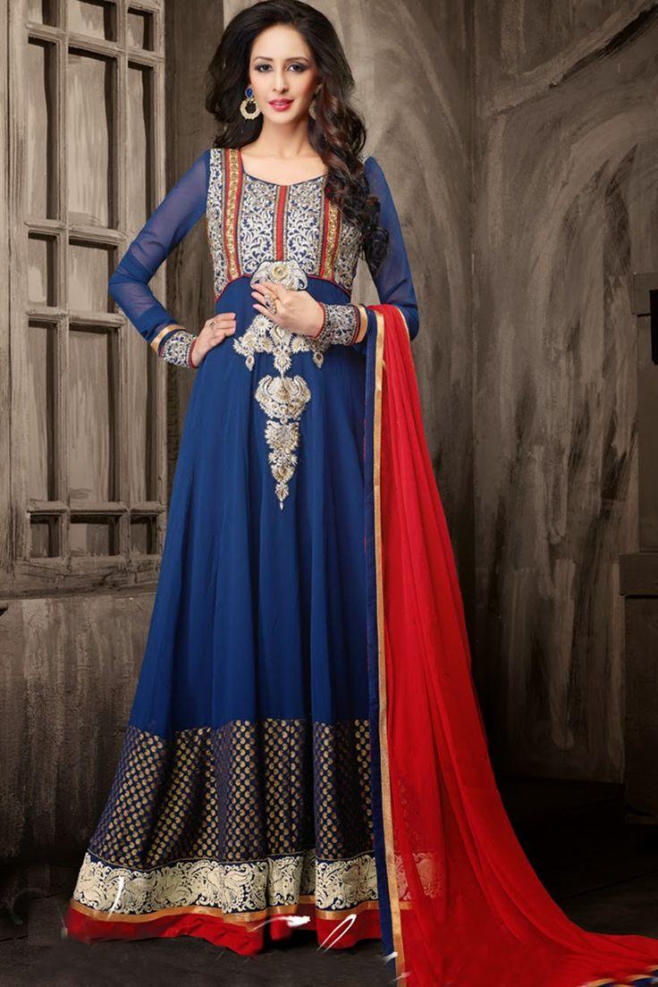 Go gorgeous with Blue Faux Georgette Anarkali Suit Shop now @ http://zohraa.com/blue-faux-georgette-anarkali-suit-z2029p6010-4.html sku : Z2029P6010-4  Rs. 5,249 #anarkalisonline #anarkalis #suits #suitsonline #salwarfashion