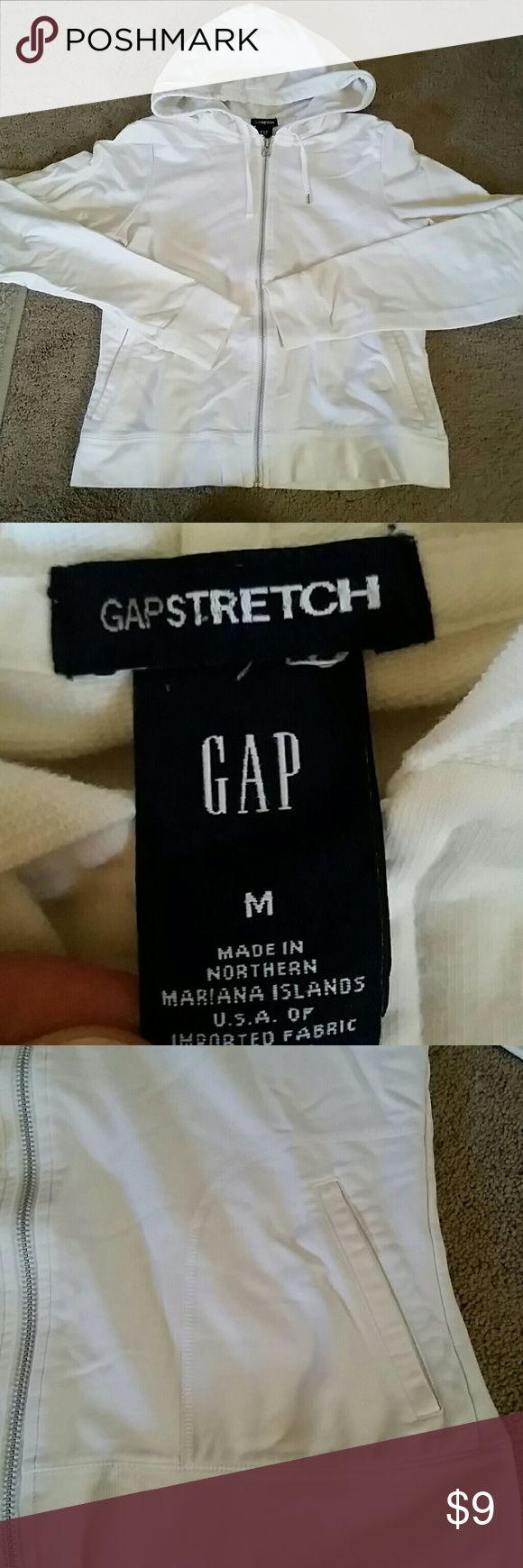 """GAP full zip hoodie White/ off white sweatshirt. Great condition. 21"""" in length Tops Sweatshirts & Hoodies"""