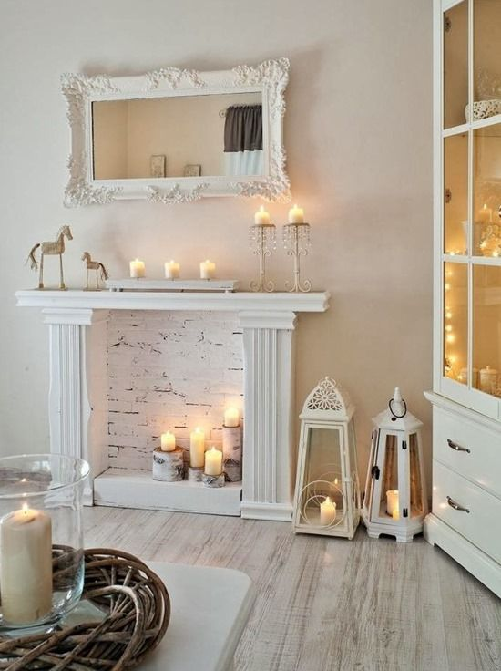 Décor w/ Candle Inside Fireplace