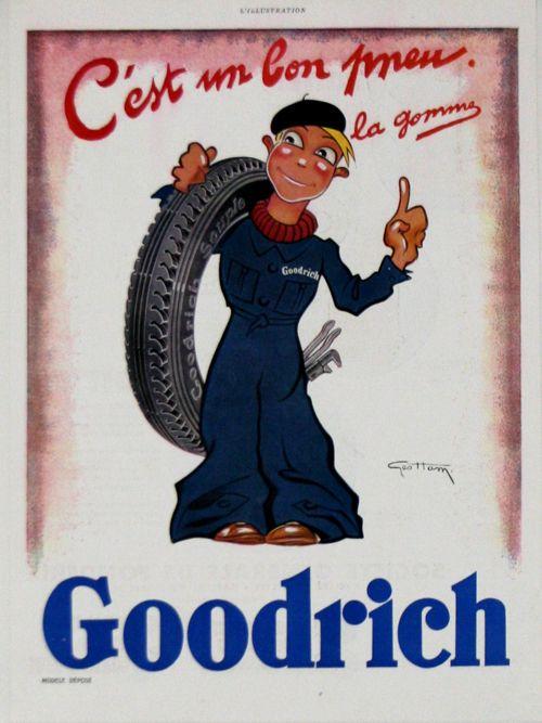 publicité parue dans le journal l'illustration : Goodrich, C'est un Bon Pneu - 1935 - illustration de Geo Ham