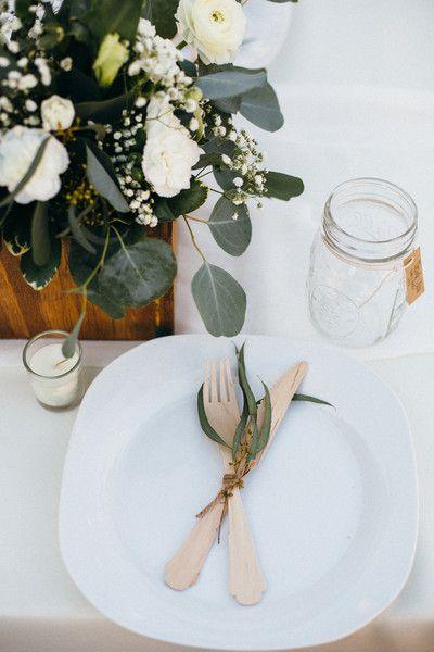 Boho-chic wedding place setting idea - disposable wooden cutlery and mason jar glasses {Suzy Goodrick Photography}