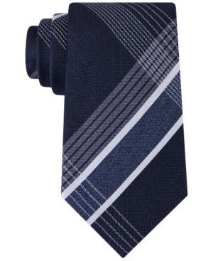Kenneth Cole Reaction Men's Monte Bianco Plaid Tie  - Blue