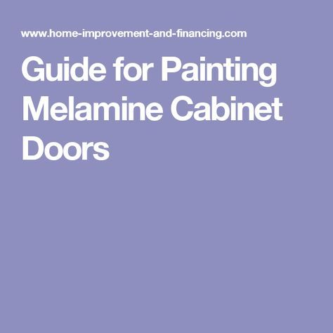 Guide for Painting Melamine Cabinet Doors More #homeimprovementgrants,