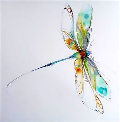 Beautiful watercolor dragonfly. Popular women tattoo design. Style: Watercolor. Color: Colorful. Tags: Cute, Popular, Beautiful