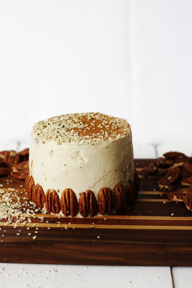 oat & pecan cake with vanilla ginger frosting - cake, Dessert, food, Healthy, icing, Raw, recipe, Vegan