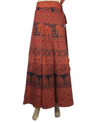 Long Indian Wrap Skirt Gypsy Boho Orange Black Elephant ...