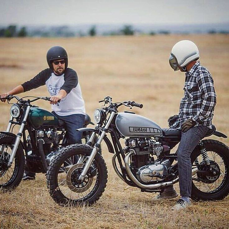 "bikebound: ""What a pair of XS650s by @therapygarage! by @nathancolwell. #xs650 #scrambler #motolove """