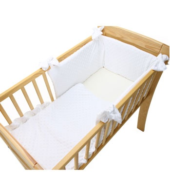 Buy your Clair De Lune Dimple White Crib Quilt & Bumper Set reviews from Kiddicare Crib Accessories| Online baby shop | Nursery Equipment