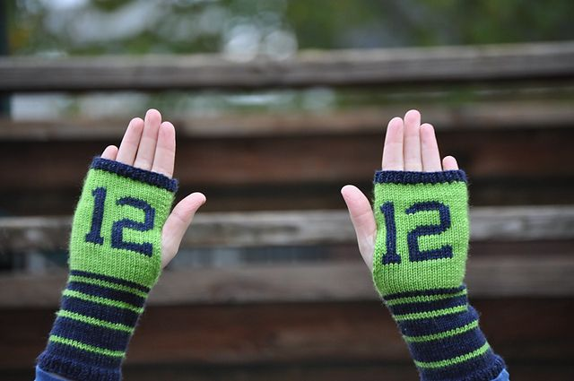 12th Mitts pattern by Jennifer Chase-Rappaport Shown in Artisan Sock: Collegiate and Hawkeye