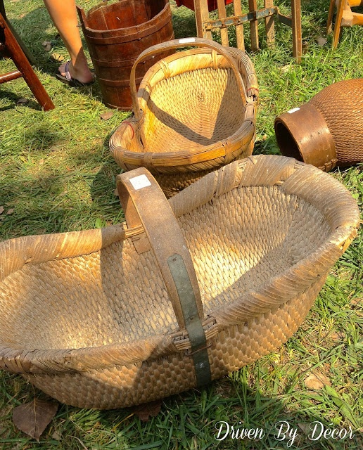 Driven By Décor: Exploring the 2012 Country Living Fair. love these baskets... I would put my baby in this!