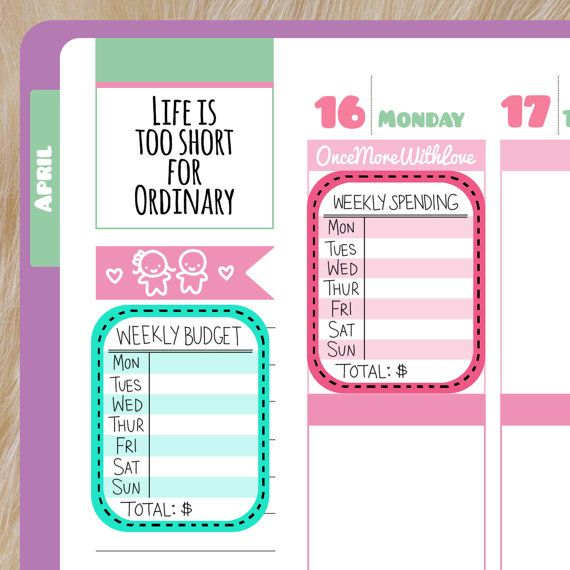 One sheet of colourful and cute weekly spending/budget stickers to keep track of your expenses! (I definitely need this! :P)  SPECS: 1) Size -