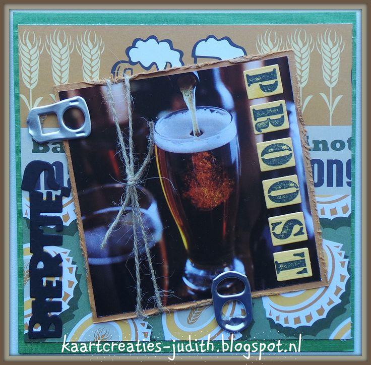 Knipvel Syta van Gelderen 160101 Bier Creative Imaginations Be a Man (scrappapier) Marianne Design COL1396 Stempel alfabet Yvonne Creations CDD10013 Beer Klipje van bierblikjes Jute