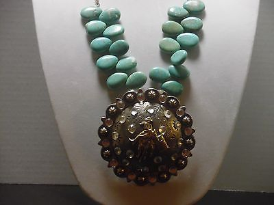 Gypsy Cowgirl Chic XL Turquoise Barrel Racer Statement Necklace Rodeo Western