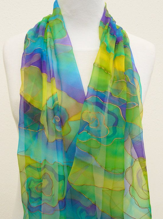 Chiffon silk scarf lime blue violet  turquoise yellow by Irisit