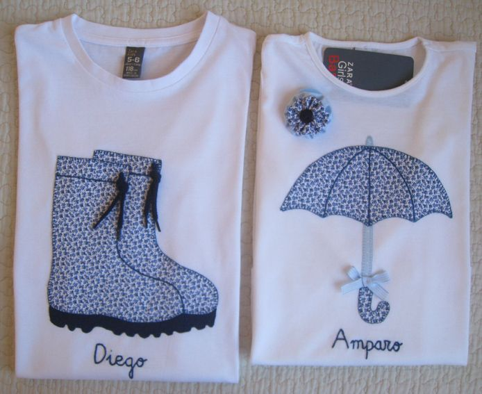 Cute idea.  Make each smaller and place on one shirt...add raindrop outlines.