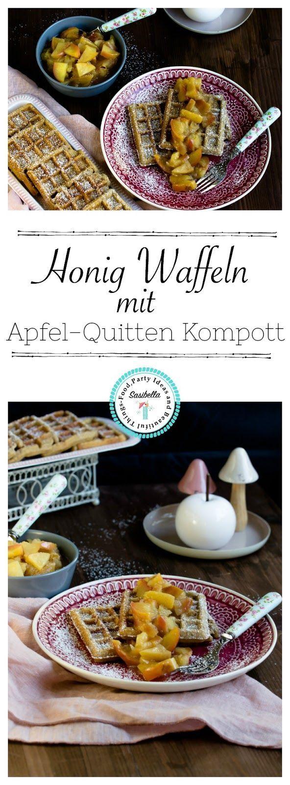 Honig-Waffeln mit Apfel-Quitten Kompott - Sasibella