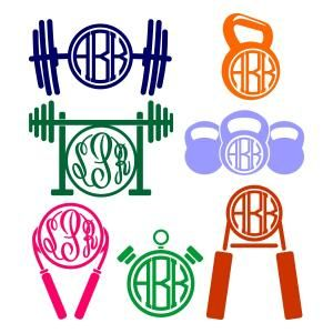 Gym Fitness Workout Pack with Kettlebell, Weigh, Stopwatch and Jumping Rope Round Circle Monogram Cuttable Design Cut File. Vector, Clipart, Digital Scrapbooking Download, Available in JPEG, PDF, EPS, DXF and SVG. Works with Cricut, Design Space, Sure Cuts A Lot, Make the Cut!, Inkscape, CorelDraw, Adobe Illustrator, Silhouette Cameo, Brother ScanNCut and other compatible software.