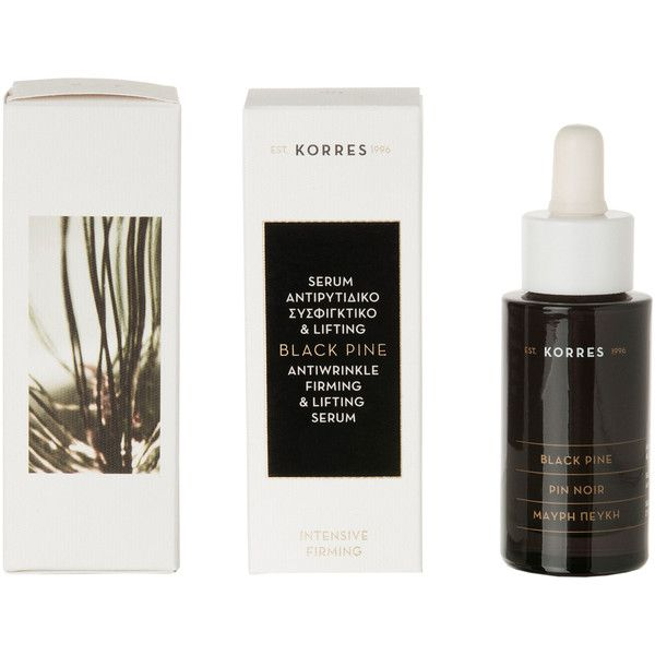 Korres Black Pine Anti-Wrinkle and Firming Face Serum Bottle and... ($52) ❤ liked on Polyvore featuring beauty products, skincare, face care, fillers, makeup, travel size perfume, korres skin care, korres, korres skincare and travel size skin care