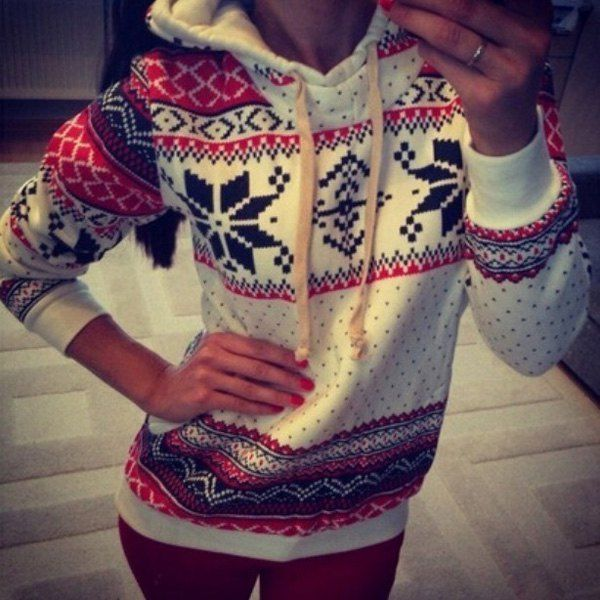 Ethnic Snowflakes Thicken Long Sleeve Stylish Hoodie For Women